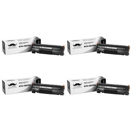 Compatible HP 78A CE278A cartouche de toner LaserJet noir de Moustache, 4 paquet