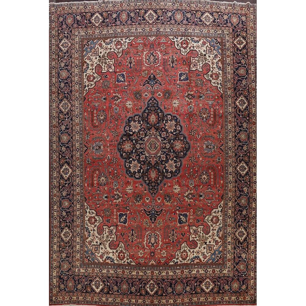 Antique Vegetable Dye Geometric Tabriz Persian Area Rug Wool Handmade - 11'11
