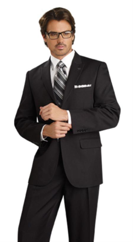 2Button Black Vented Jacket Full Cut Suit With Pleated Pant Mens