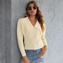 Solid V-Neck Puff Sleeve Sweater