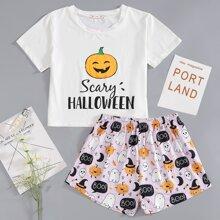 Schlafanzug Set mit Halloween Buchstaben Grafik