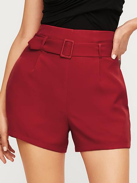 YOINS Burgundy Belted Side Pockets High-Waisted Shorts