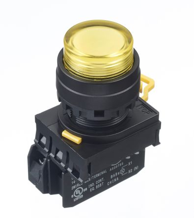 Idec , YW Illuminated Yellow Extended Push Button Complete Unit, NO, 22mm Maintained Screw