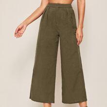 Fold Pleated Front Slant Pocket Wide Leg Pants
