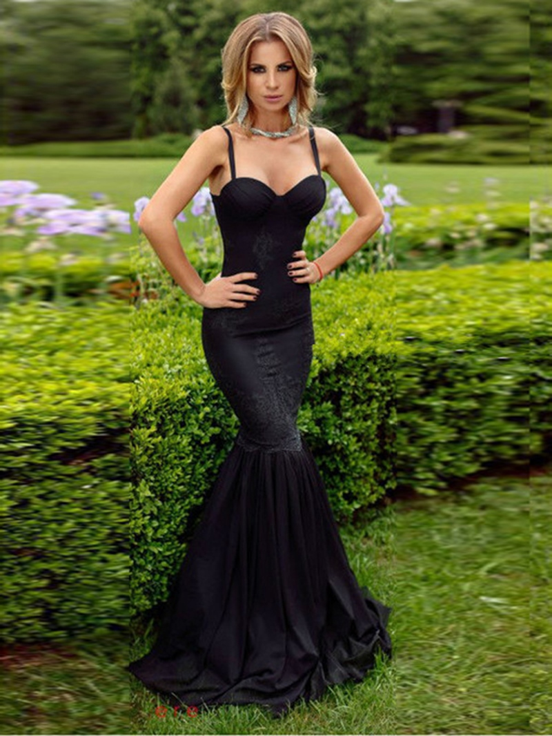 Ericdress Sexy Mermaid Spaghetti Straps Lace Black Evening Dress