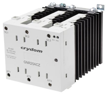 Sensata / Crydom 25 A rms Solid State Relay 3 Phase, Zero Crossing, DIN Rail, TRIAC, 280 V ac Maximum Load