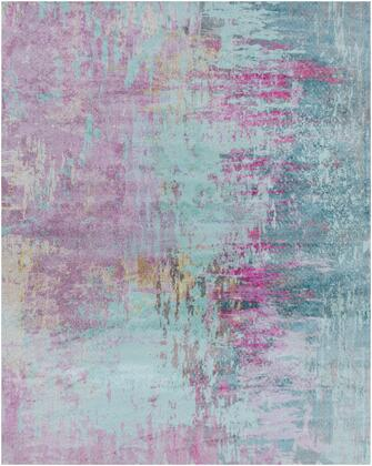 Felicity FCT-8003 8 x 10 Rectangle Modern Rug in Bright Purple  Teal  Bright Pink  Tan