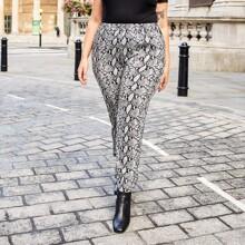 Pantalones de cintura alta con estampado de piel de serpiente