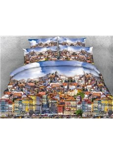 Busy Porto City Printed Cotton 4-Piece 3D Bedding Sets/Duvet Covers