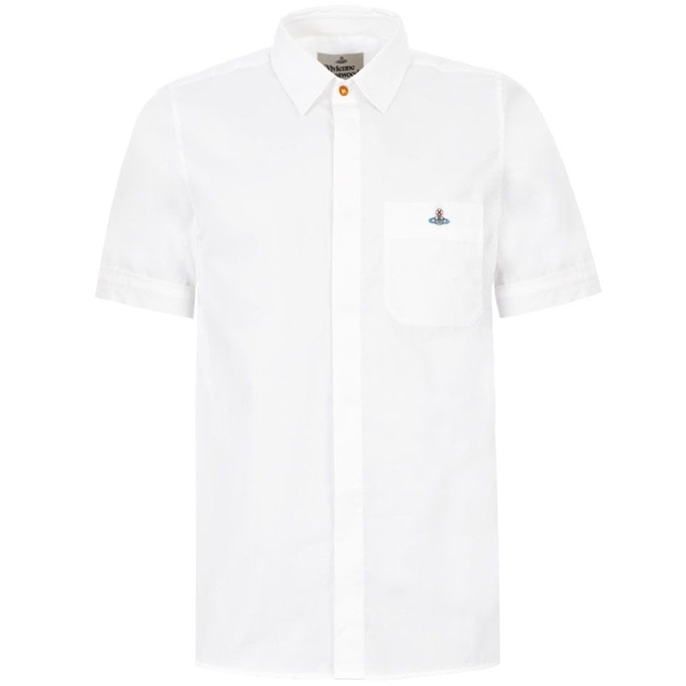 Vivienne Westwood Orb Logo Short Sleeve Shirt Colour: WHITE, Size: LARGE