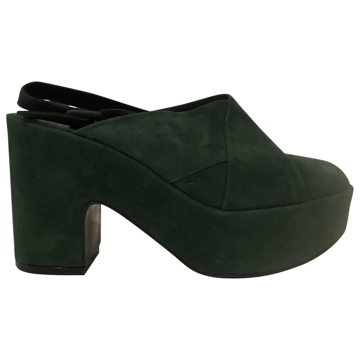 Robert Clergerie \N Green Suede Sandals for Women 40 EU