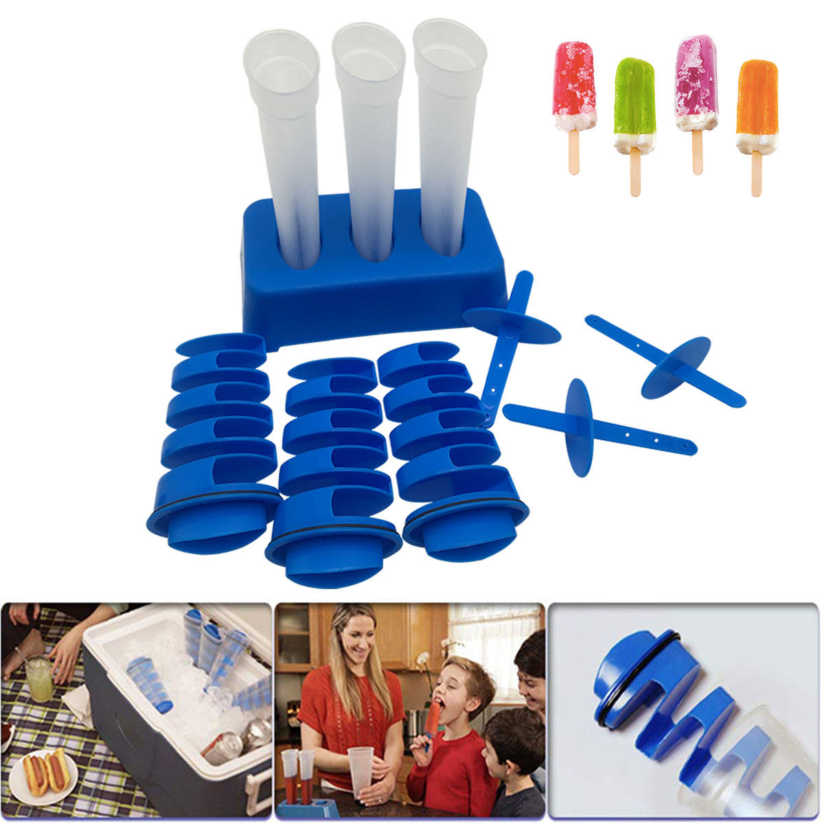 2 In1 Silicone Spiral Strip Ice Cube Ice Lolly DIY Cream Popsicle Yogurt Ice Mold Ice Maker Icebox