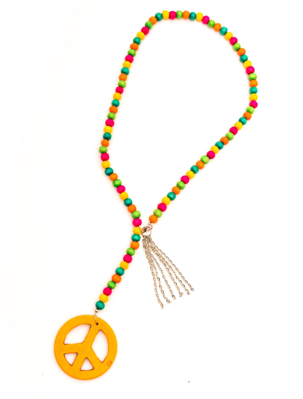 Kostuemzubehor Halskette Hippie bunt Farbe: multicolor bzw. bunt