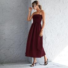 Strick einfarbiges Cami Kleid