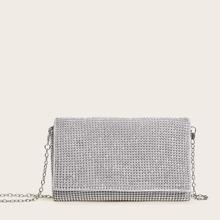 Bolsa de mano con cadena con diseño de diamante de imitacion