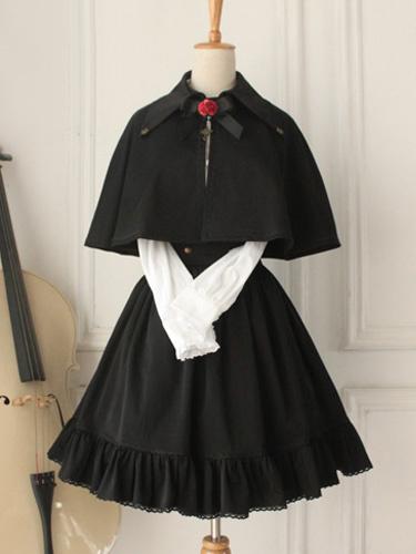 Milanoo Clasico Alta Cintura Long Lolita Falda Algodon Volantes