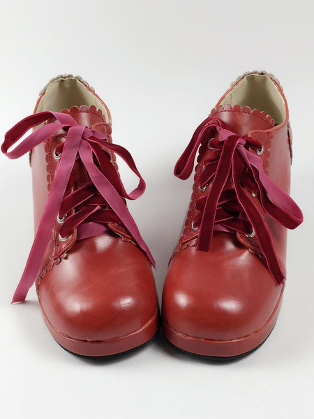 Milanoo Sweet Lolita Shoes Square Toe Puppy Heel PU Lace Up Red Lolita Shoes