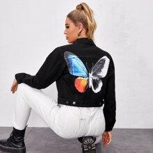 Butterfly Print Crop Denim Jacket
