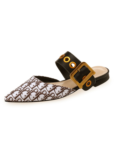 Milanoo Women Mule Shoes Pointed Toe Printed Buckle Detail Backless Flat Mules