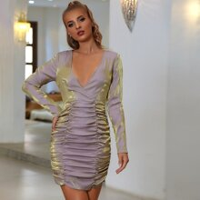 Double Crazy Surplice Neck Ruched Glitter Dress