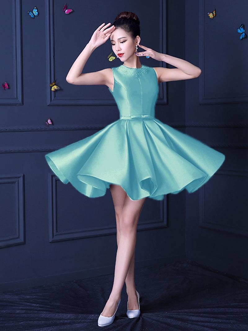 Ericdress Sleeveless Lace-Up A-Line Short Cocktail Dress