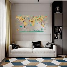 Wandaufkleber mit Karikatur Landkarte Muster