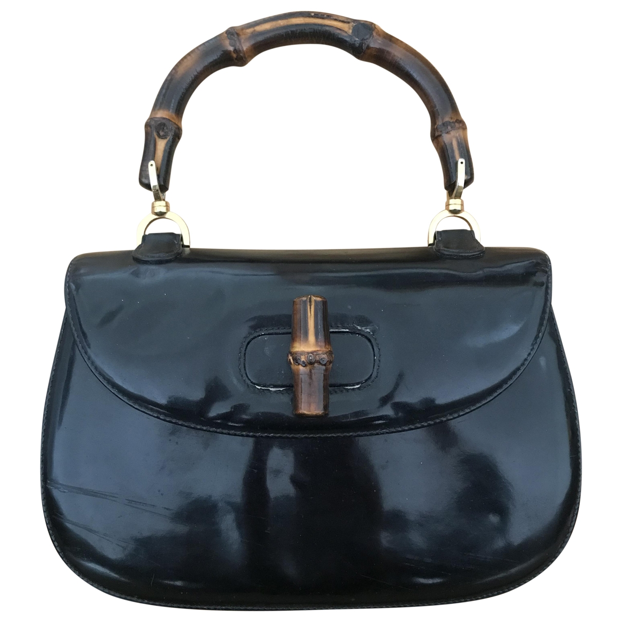 Gucci Bamboo Black Patent leather handbag for Women \N
