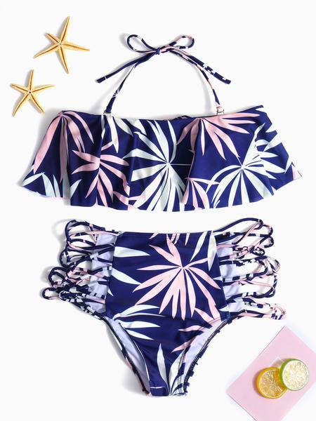 Yoins Blue Random Floral Print Halter Bikini Set