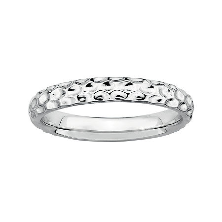 Personally Stackable Sterling Silver Stackable 3.5mm Pebbled Ring, 7 , No Color Family
