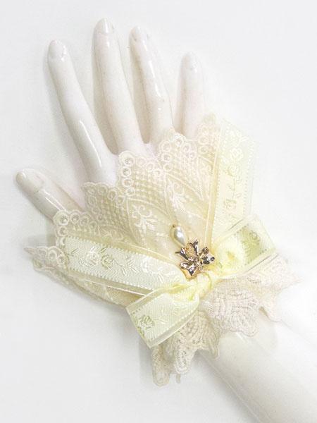 Milanoo Sweet Lolita Cuff Metal Detail Ruffle Bow Lace Lolita Wrist Band