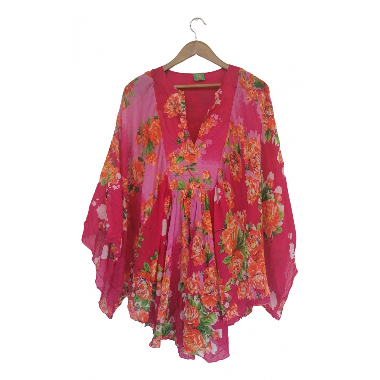 Non Signé / Unsigned Manche ballon Pink Cotton  top for Women One Size IT
