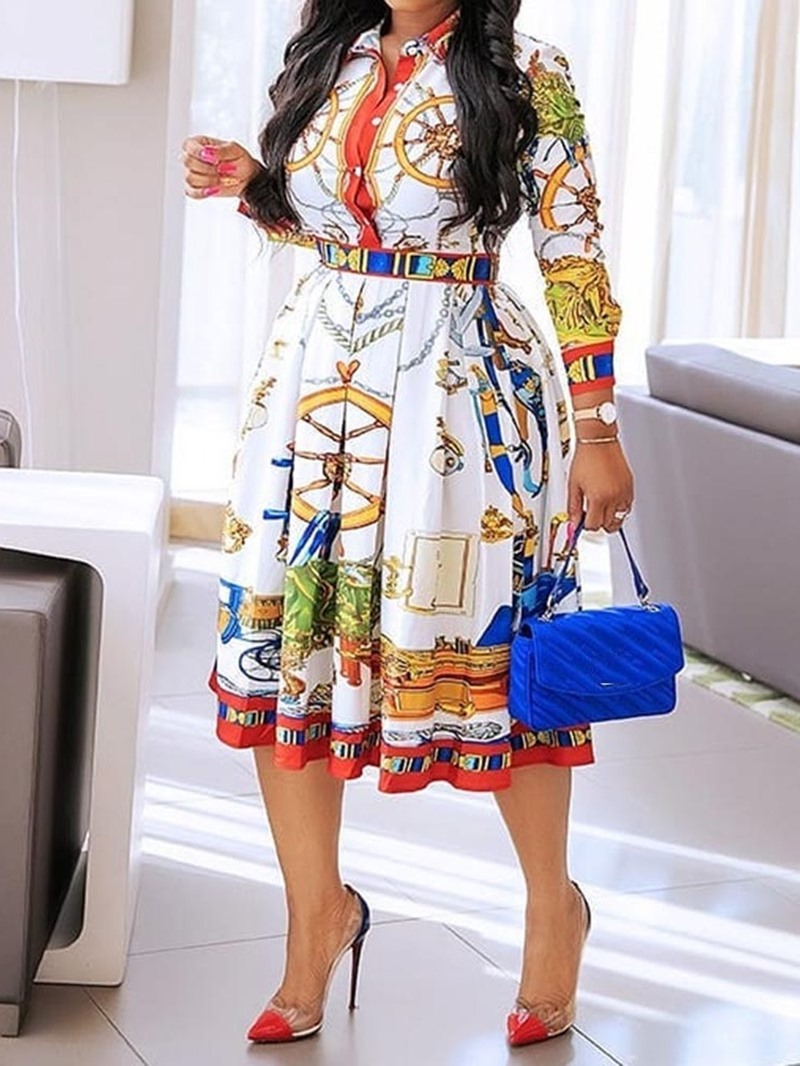 Ericdress Print A-Line Pleated Mid-Calf Lapel Geometric Casual Dress
