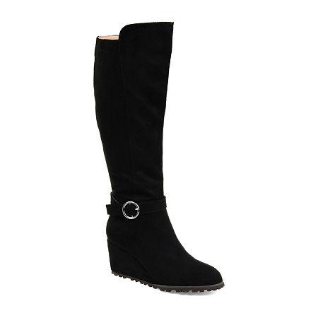 Journee Collection Womens Veronica-Xwc Dress Wedge Heel Zip Boots, 8 Medium, Black