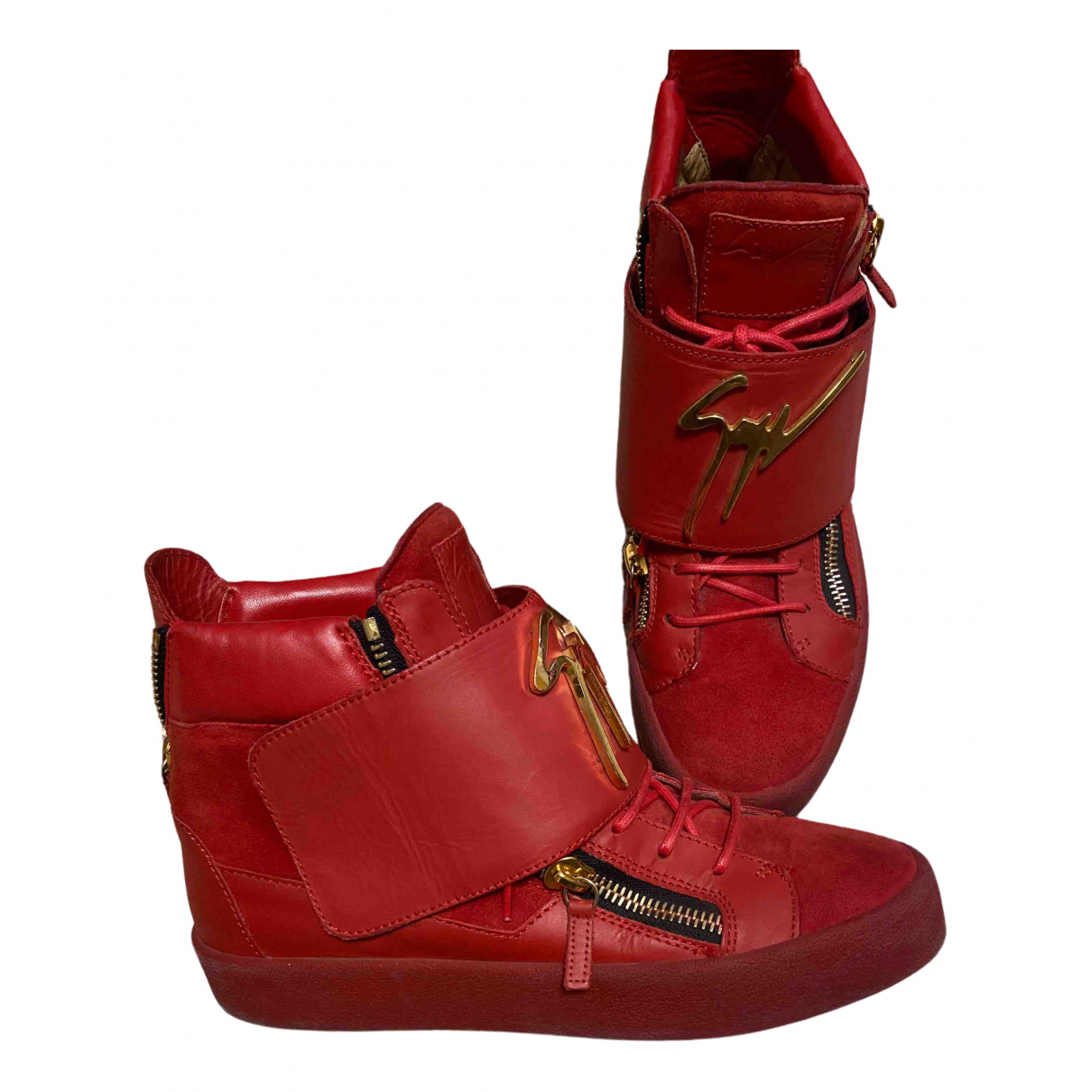 Giuseppe Zanotti Donna Sneakers in  Rot Veloursleder