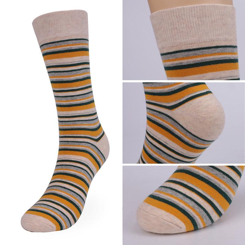 Mens Winter Deodorant Thick Breathable Cotton Stripe Comfortable Socks Casual Dress Leg Tube Socks