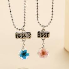2pcs Girls Flower Charm Necklace