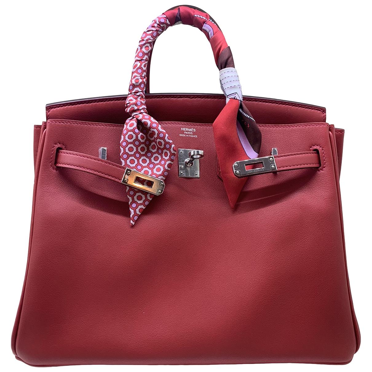 Hermes - Sac a main Birkin 25 pour femme en cuir - rouge