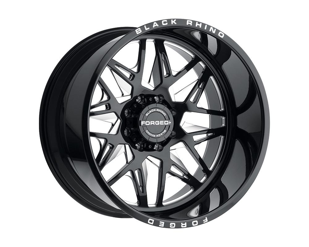 Black Rhino Twister Wheel 22x14 8x170 -76mm Gloss Black w/Milled Spokes Left
