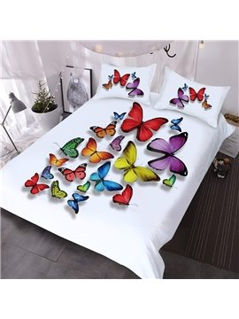 A School Of Colorful Butterflies In The White Background Printed 3-Piece Comforter Sets