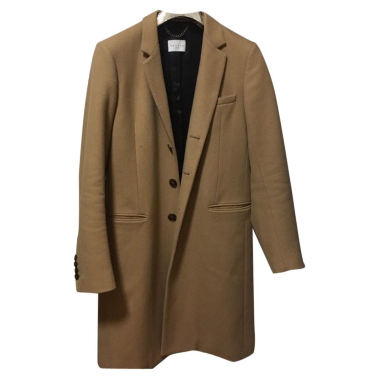 Sandro - Manteau   pour homme en laine - marron