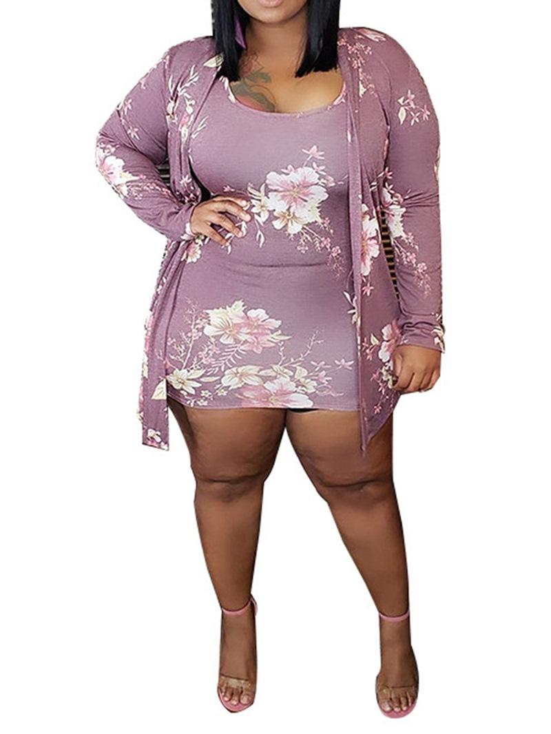 Ericdress Above Knee Scoop Print Regular Sweet Dress