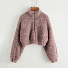 Drop Shoulder Zip Half Placket Teddy Sweatshirt