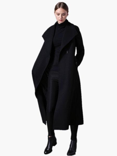 Milanoo abrigo mujer Cuello convertible de mezclada de lana Color liso con manga larga Moda Mujer de corte ajustada 1-Boton estilo moderno Invierno