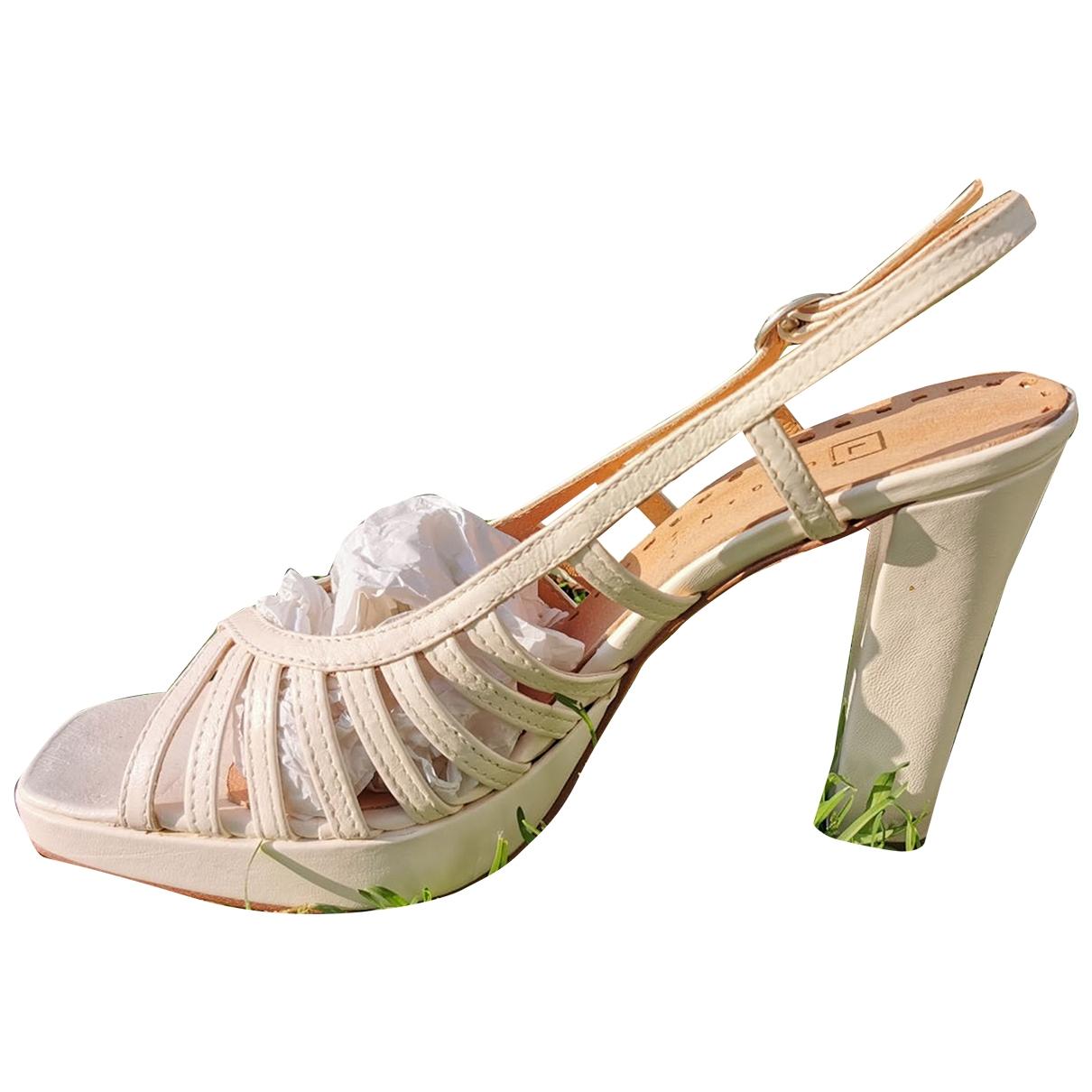 - Escarpins   pour femme en cuir - blanc