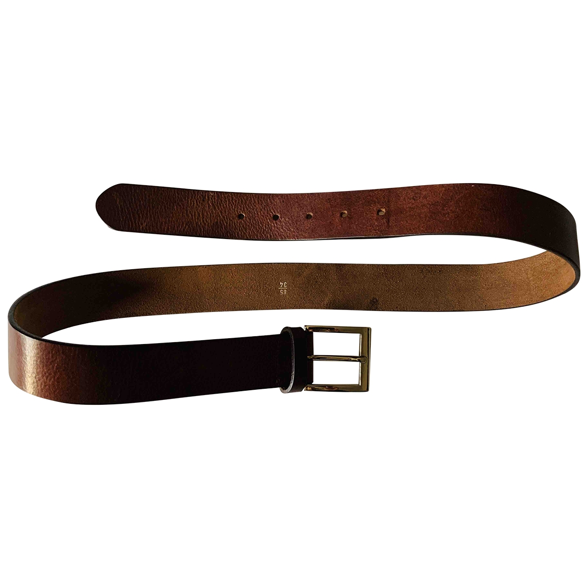 Non Signé / Unsigned \N Brown Leather belt for Men 85 cm