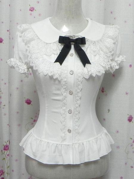 Milanoo Blanca volantes algodon Chic Lolita camisa para mujeres