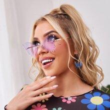 Rahmenlose Sonnenbrille mit Schmetterling Design