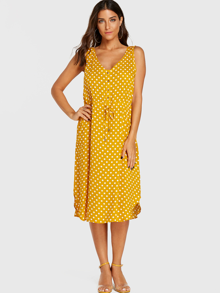 Yoins Yellow Polka Dot Front Button V-neck Drawstring Waist Dress