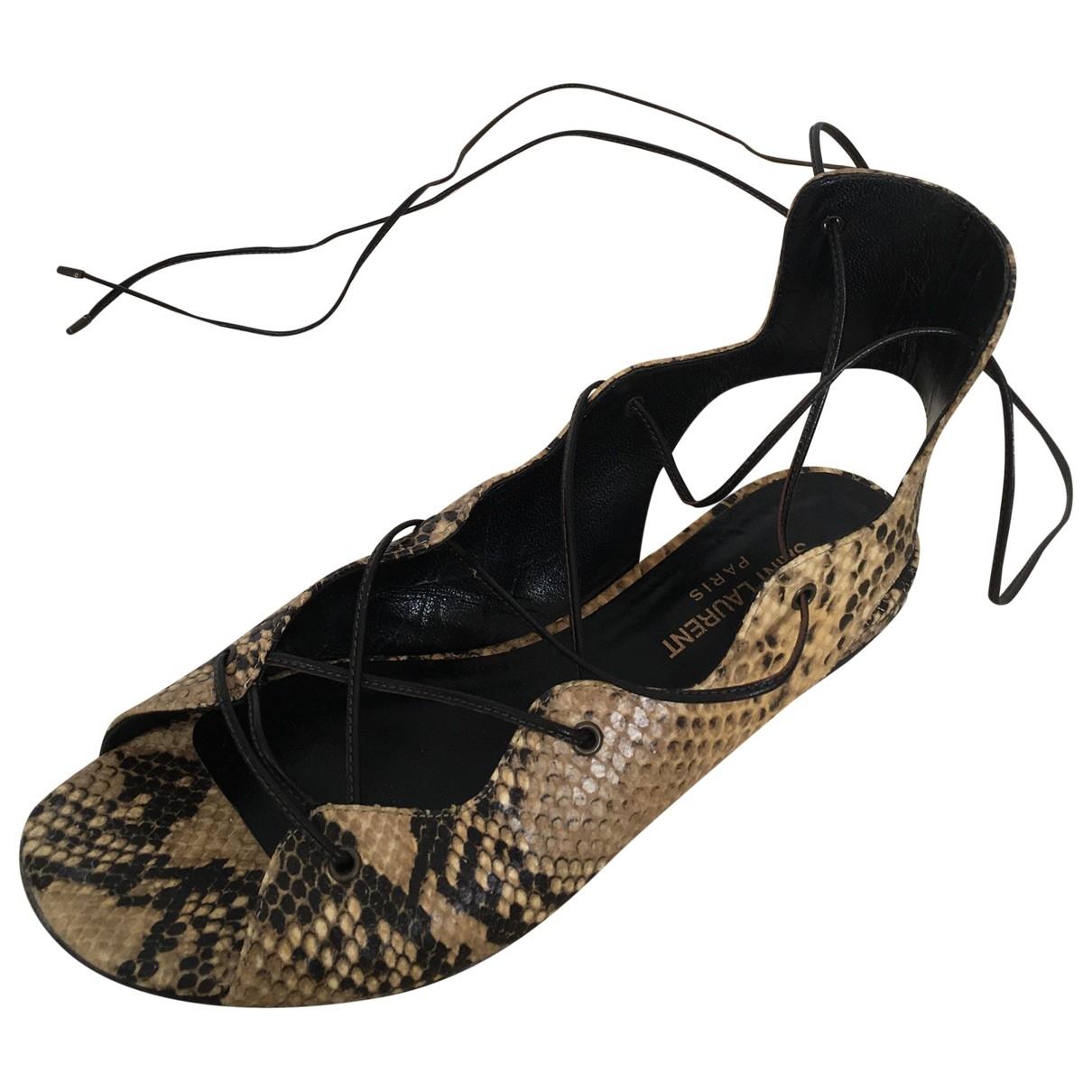 Saint Laurent \N Beige Leather Flats for Women 38.5 EU