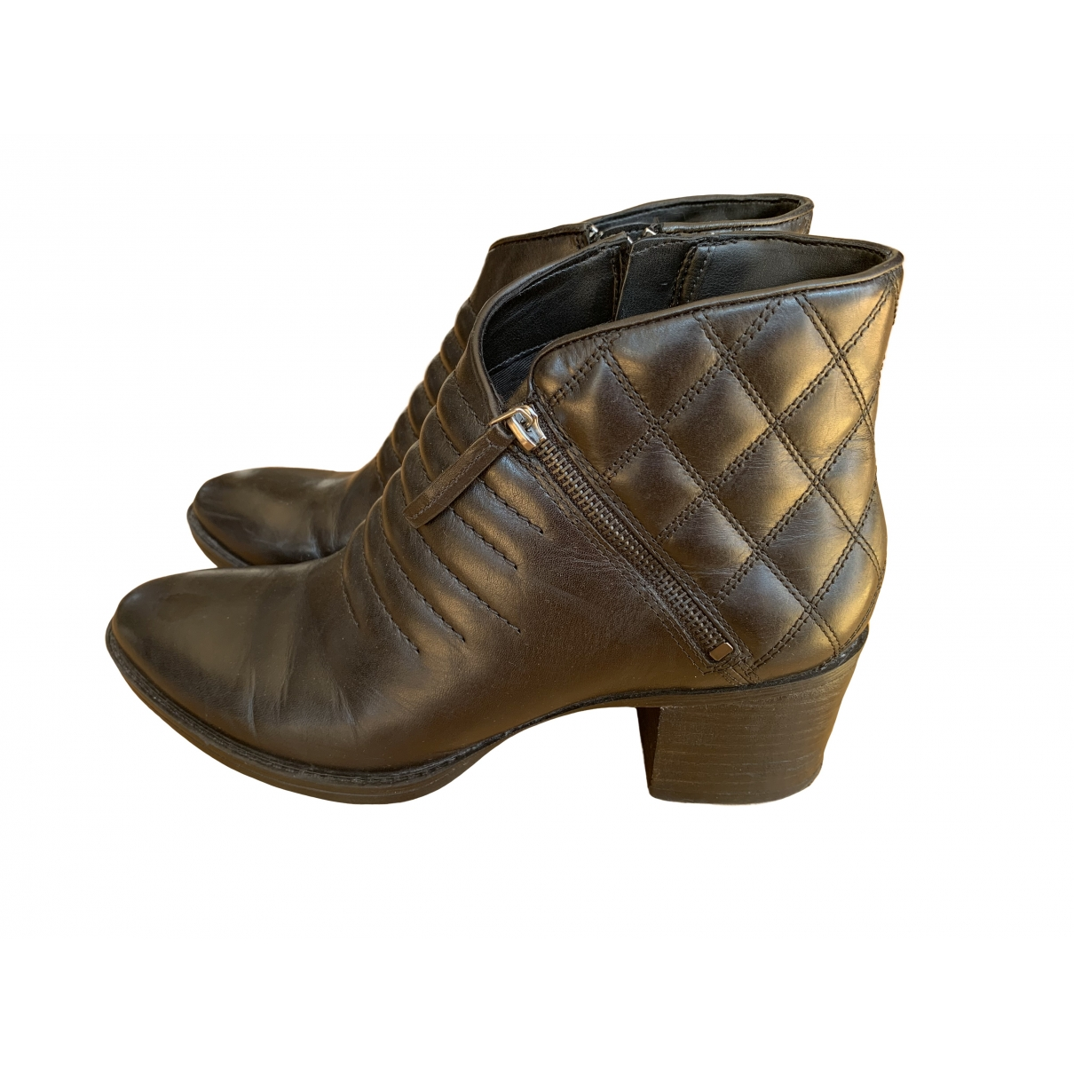 Clarks \N Black Leather Boots for Women 7 UK